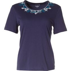 Coral Bay Petite Sprigs Embroidered Short Sleeve Top