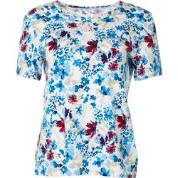 Coral Bay Petite Short Sleeve Floral Keyhole Top