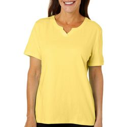 Coral Bay Petite Solid Split Neck Short Sleeve Top