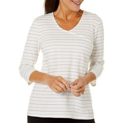 Coral Bay Petite Striped V-Neck Surplice Top