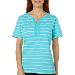 Petite Striped Embroidered Split Neckline Top