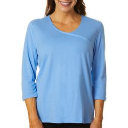 Coral Bay Petite Solid V-Neck Surplice Top