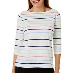 Petite Striped Boat Neck Top