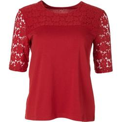 Petite Solid Lace Crochet Short Sleeve Top