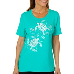 Coral Bay Petite Embellished Sea Turtles Florida Tee