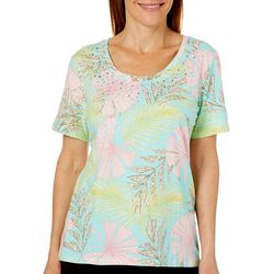 Coral Bay Petite Rhinestone Fans & Palms Printed Top