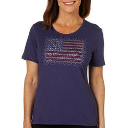 Coral Bay Petite Jeweled American Flag Florida Tee