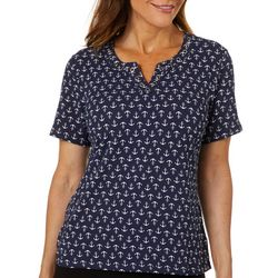Coral Bay Petite Anchor Print Grommet Neck Top