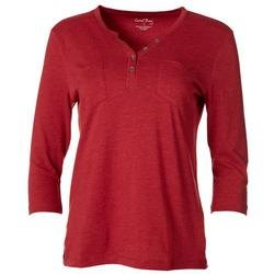 Petite Solid Pocketed Henley Top
