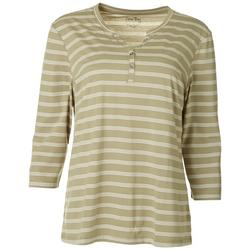 Petite Striped Henley Top