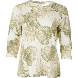 Coral Bay Petite Palm Leaf Split Neck Top