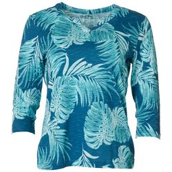 Coral Bay Petite Scratch Leaf Split Neck Top
