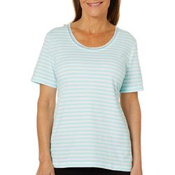 Coral Bay Petite Striped Embellished Scoop Neck Florida Tee