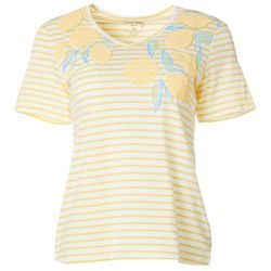 Coral Bay Petite Lemon Screen Print Striped V-Neck Top