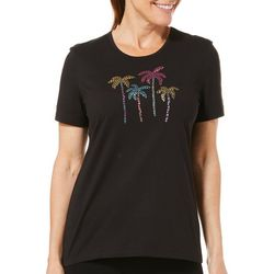 Coral Bay Petite Rainbow Jeweled Palm Tree Florida Tee