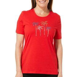 Coral Bay Petite Jeweled Palm Tree Party Florida Tee
