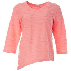 Coral Bay Petite Solid Textured V-Neck Surplice Top