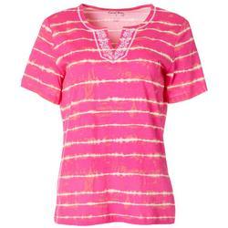 Petite Tie Dye Stripe Split Neck Short Sleeve Top