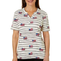 Coral Bay Petite Flag Striped Short Sleeve Top