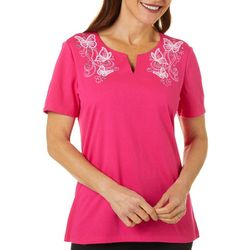 Coral Bay Petite Solid Butterfly Split Neck Short Sleeve Top