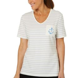 Coral Bay Petite Striped Embroidered Anchor Pocket Top