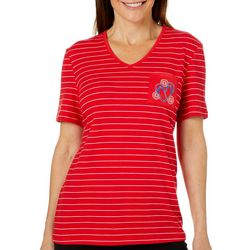 Coral Bay Petite Embroidered Flip Flop Striped Pocket Top