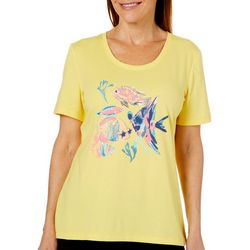 Coral Bay Petite Embellished Tropical Fish Short Sleeve Top