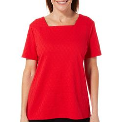 Coral Bay Petite Solid Textured Square Neck Top