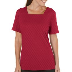 Petite Textured Square Neck Solid Top