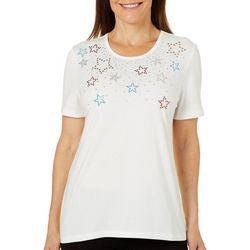 Coral Bay Petite Jeweled Stars Short Sleeve Top