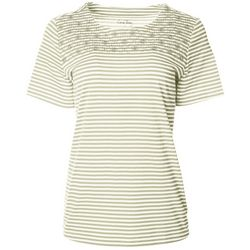Coral Bay Petite Striped Embroidered Detail Round Neck Top