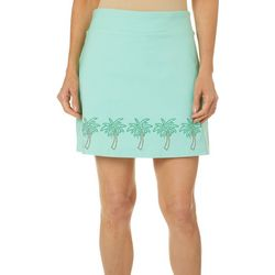 Petite Solid Palm Tree Embellished Skort