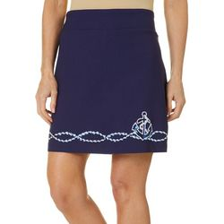 Petite Solid Anchor Embellished Skort