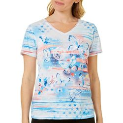 Coral Bay Petite Embellished America Butterfly Top