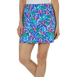 Coral Bay Petite Tropical Flamingo Hibiscus Pull On Skort
