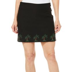 Coral Bay Petite Embellished Palm Tree Border Skort