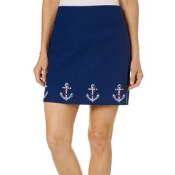 Coral Bay Petite Embellished Anchor Border Skort