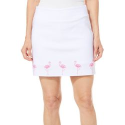 Coral Bay Petite Embellished Pink Flamingo Border Skort