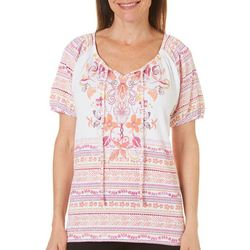 Coral Bay Petite Gauze Mixed Floral Print Peasant Top