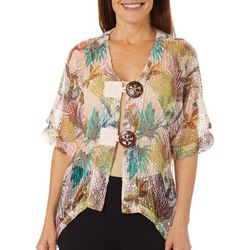 Coral Bay Petite Tropical Palm Leaf Hibiscus Mesh Cardigan