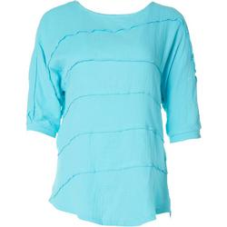 Petite Solid Tiered Textured Top