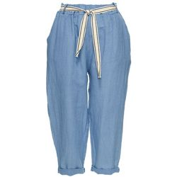 Coral Bay Petite Solid Belted Roll Cuff Linen Capris