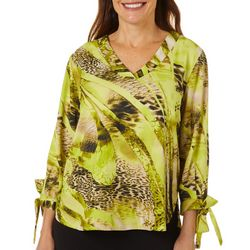 Coral Bay Petite Mixed Animal Print Tie Sleeve Top