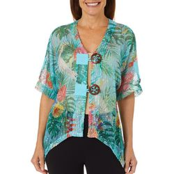 Coral Bay Womens Tropical Palm Leaf Hibiscus Mesh Cardigan