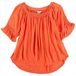 Coral Bay Petite Crochet Square Neckline Top