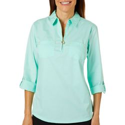 Coral Bay Petite Zip Placket Solid Woven Top