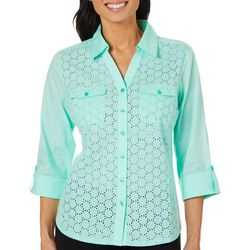 Coral Bay Petite Eyelet Solid Button Down Top