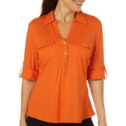 Coral Bay Petites Tonal Striped Pocket Top