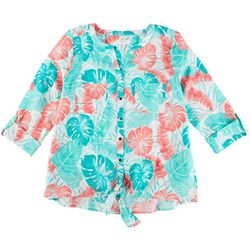 Coral Bay Petite Leaves Tunic Top