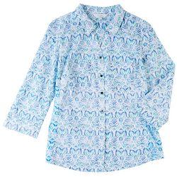 Coral Bay Petite Stripe Johnny Collar Shirt